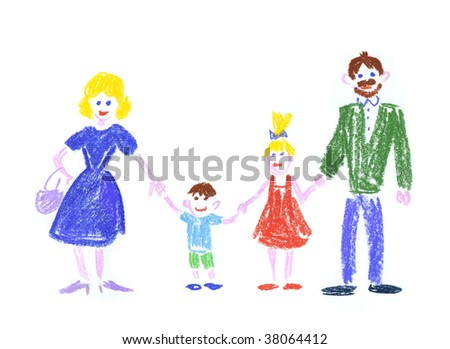 mommy, daddy and their children - stock photo