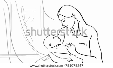 Mommy holding baby mom baby room stock illustration 751075267 mom and baby in the room with window black and white thecheapjerseys Gallery