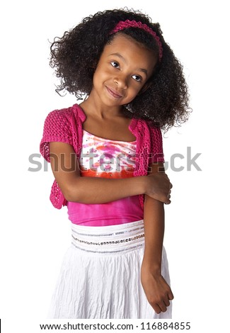 Mommy please!  Cute African American girl - stock photo