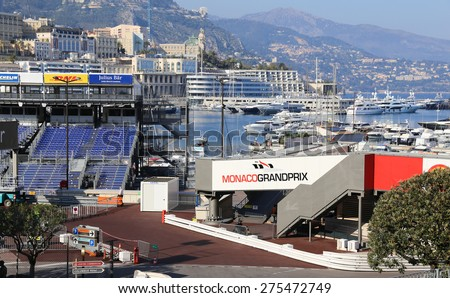 MONACO - APRIL 13, 2015: Preparations for the Monaco Grand Prix 2015. The Monaco Grand Prix is a Formula One motor race held on Circuit de Monaco, a narrow course laid out in the streets of Monaco. - stock photo