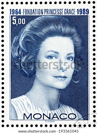 MONACO - CIRCA 1989: a postage stamp printed by MONACO shows image portrait of famous American actress Grace Kelly who married Rainier III Prince of Monaco, circa 1989. - stock photo