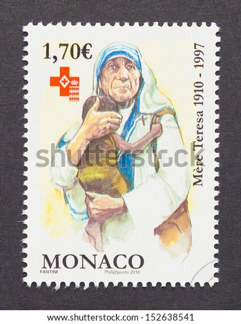 MONACO - CIRCA 2010: a postage stamp printed in Monaco showing an image of Nobel Peace Prize winner Mother Teresa, circa 2010. - stock photo