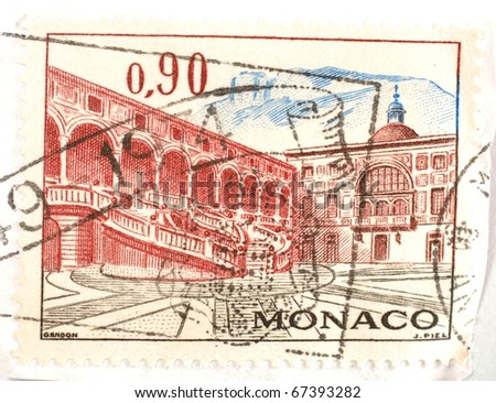 MONACO - CIRCA 1974: a stamp from Monaco shows image of grand Monegasque architecture, circa 1974