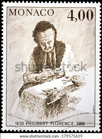 MONACO - CIRCA 1989: A stamp printed by MONACO shows engraving after picture of Monaco artist Philibert Florence, circa 1989.