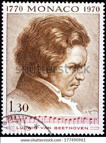 MONACO - CIRCA 1970: A stamp printed by MONACO shows image portrait of German composer and pianist Ludwig van Beethoven, circa 1970. - stock photo