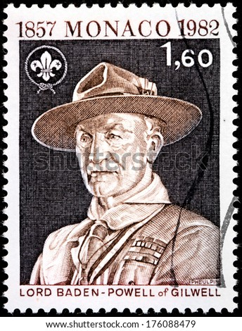 MONACO - CIRCA 1982: A stamp printed by MONACO shows image portrait of Lord Baden-Powell founder and Chief Scout of the Scout Movement, circa 1982 - stock photo