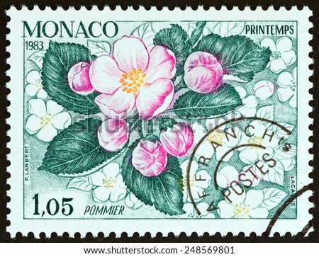 "MONACO - CIRCA 1983: A stamp printed in Monaco from the ""The Four Seasons of the Apple Tree "" issue shows Spring, circa 1983.  - stock photo"
