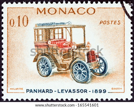 "MONACO - CIRCA 1961: A stamp printed in Monaco from the ""Veteran Cars "" issue shows Panhard-Levassor, 1899, circa 1961."