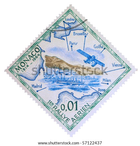 MONACO - CIRCA 1964: A stamp printed in Monaco showing First Air Rallye, circa 1964