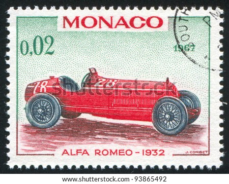 MONACO - CIRCA 1967: stamp printed by Monaco, shows Alfa Romeo, 1932, circa 1967 - stock photo