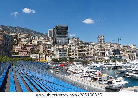 Monaco. Empty tribunes awaits the spectators before the Formula 1  Monaco GP - stock photo