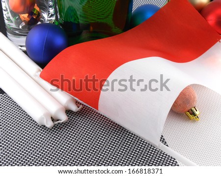 Monaco flag with christmas decoration, new year card