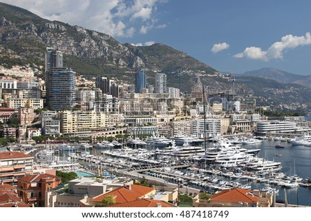 MONACO, FRANCE - AUGUST 2016: View of Monte Carlo in Monaco, August 22, 2016