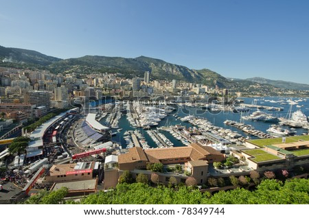 MONACO, FRANCE-MAY 28: luxury yacht are parked in the Herculs'port  part of the track of the grand prix of monaco on 28th, 2011 of may in Monaco, france - stock photo