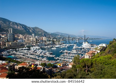 Monaco Harbour and Monte Carlo viewed from the Palace Square - stock photo