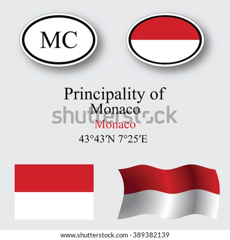 monaco icons set against gray background, abstract art illustration, image contains transparency