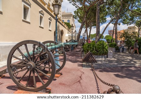 MONACO - JUNE 26, 2013: Photo of guns on the square in front of the palace of Prince
