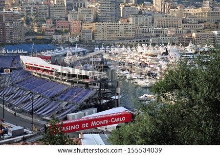 MONACO - MAY 24: Preparation for the qualifying races of Formula 1 Grand Prix de Monaco finishes on May 24, 2012, Monaco.                          - stock photo