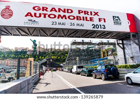 MONACO - MAY 02: Three weeks until of opening the Grand Prix Automobile F1 on May 02, 2013 in Monaco. This year Grand Prix Automobile F1 will be from May 23 to May 26, 2013.  - stock photo