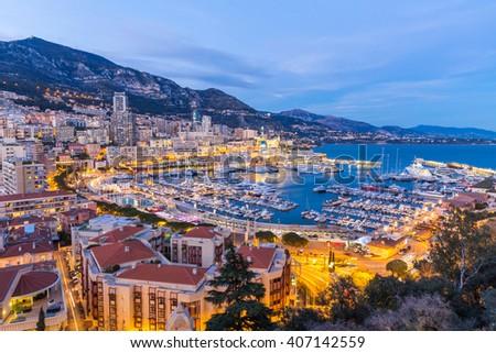 Monaco Monte Carlo harbour french riviera - stock photo