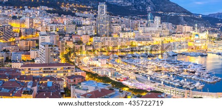 Monaco Monte Carlo harbour french riviera panorama - stock photo