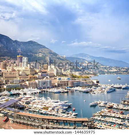 Monaco Montecarlo cityscape, principality aerial harbor view. Skyscrapers, mountains and marina. Azure coast. France, Europe. - stock photo