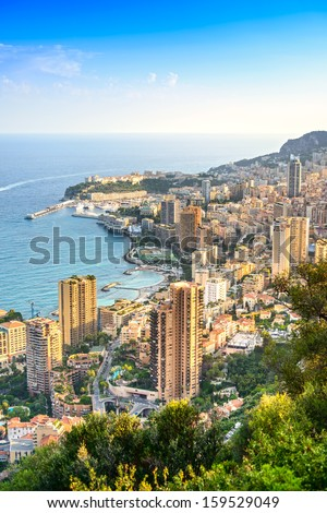 Monaco Montecarlo cityscape, principality aerial view. Skyscrapers, mountains and marina. Azure coast. France, Europe. - stock photo