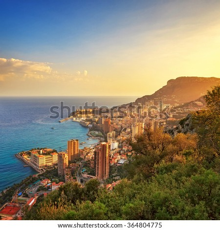 Monaco Montecarlo cityscape, principality aerial view. Skyscrapers, mountains and marina. Azure coast. France, Europe.