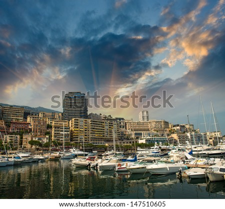 Monaco Montecarlo cityscape, principality harbor view. Skyscrapers and marina. Azure coast. France, Europe - stock photo