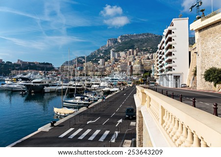 MONACO - NOVEMBER 2, 2014: Panoramic view of the port in Monte Carlo, Monaco. - stock photo