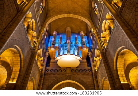 MONACO-VILLE, MONACO - JULY 13, 2013: Pipe organ in Saint Nicholas Cathedral - national cathedral of Principality of Monaco consecrated in 1875 and dedicated to St. Nicholas. - stock photo