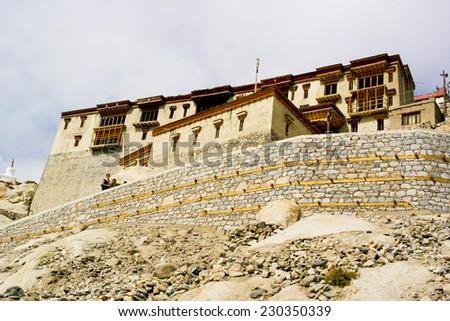 Monastery : a building occupied by a community of monks living under religious vows at Leh Ladakh, India.