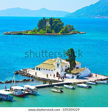 Monastery and Mouse island on Corfu, Greece - stock photo