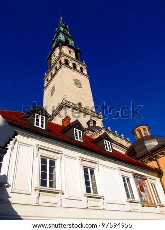 monastery and the basilica of Jasna Gora in Czestochowa, Poland - stock photo
