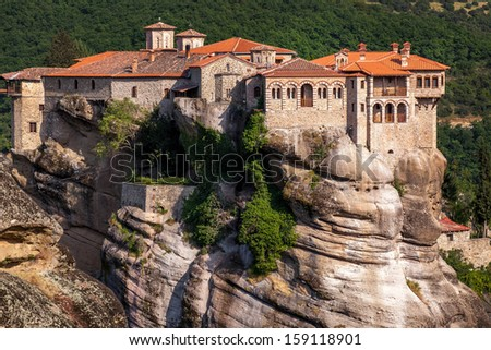 Monastery at Meteora in Trikala region, Greece. - stock photo