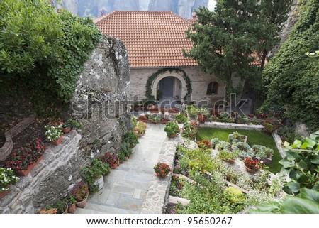 Monastery garden in Meteora - stock photo