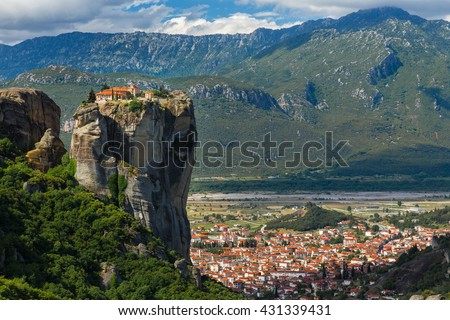 Monastery Holy Trinity , Meteora , Greece - stock photo