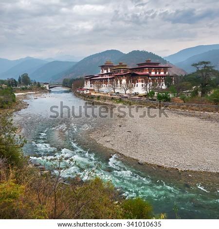 Monastery in Bhutan ( Punakha Dzong ) - stock photo