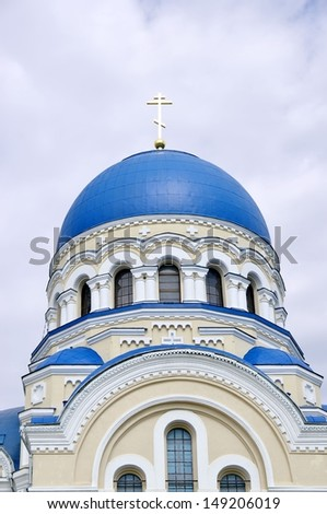 Monastery in Kaluga region. The dome of the temple - stock photo
