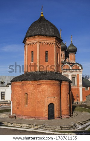 Monastery in Moscow (Vysokopetrovsky), Russia - stock photo