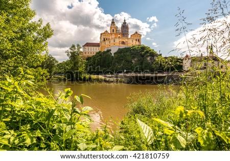 Monastery of Melk, city in Wachau valley, World Heritage Site (UNESCO) - stock photo