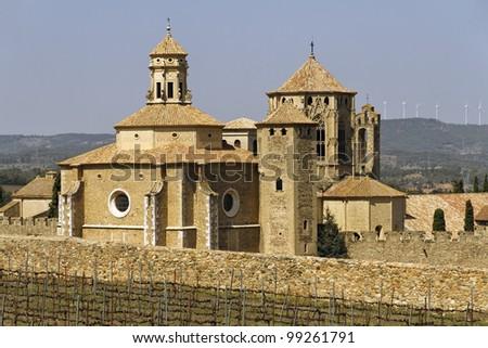 Monastery of Santa Maria de Poblet, Catalonia, Spain overview - stock photo