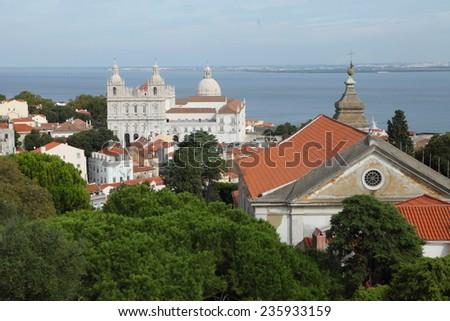 Monastery of Sao Vicente de Fora in Lisbon (Portugal) - stock photo