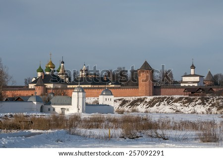 Monastery of St. Euthymius at Suzdal, Russia, winter - stock photo