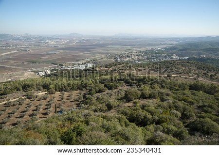 Monastery of the Discalced Carmelites .View of the Jezreel Valley.Israel. - stock photo