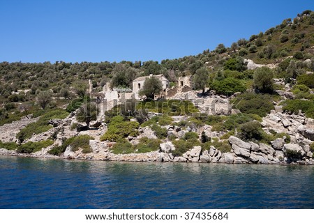 Monastery on island Kameryie - stock photo