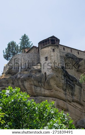 Monastery on top of a cliff in Meteora, Greece