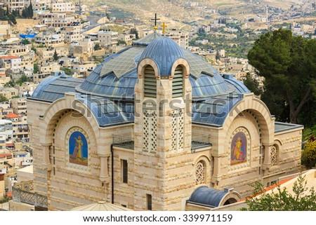 Monastery St. Peter in Gallicantu on Zion Mount in Jerusalem - stock photo