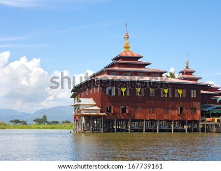 monastery standing on stilts on the water, Inle Lake, Myanmar(Burma) - stock photo