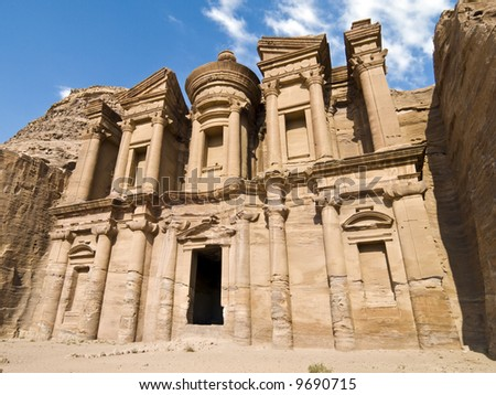 Monastery, the larges monument in Petra - Nabataeans capital city (Al Khazneh) , Jordan. Made by digging a holes in the rocks and cutting the hill. Roman Empire period. - stock photo